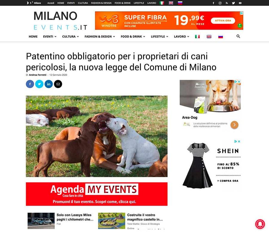 screenshot articolo pitbull milano events